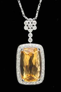Stylish 14k white gold sparkling diamonds large citrine pendant w la foto se est cargando elegante 14k oro blanco brillante diamantes amp gran aloadofball Choice Image