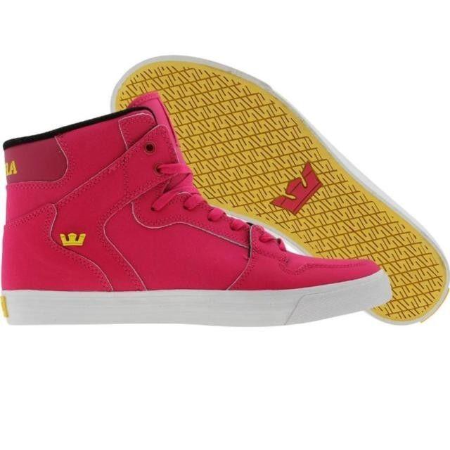 New! (Supra) Men Vaider Hi Top Satin Tuf Skate Shoes Sz:11 (Color: Pink Magenta)