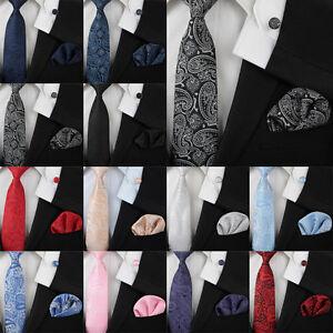 Wedding-Floral-Paisley-Tie-Silk-Mens-Necktie-Pocket-Square-Cufflinks-Set-Gift