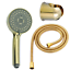 Gold Polish 5 Functions Massage Rainfall Round ABS Shower Head Holder Hose Set