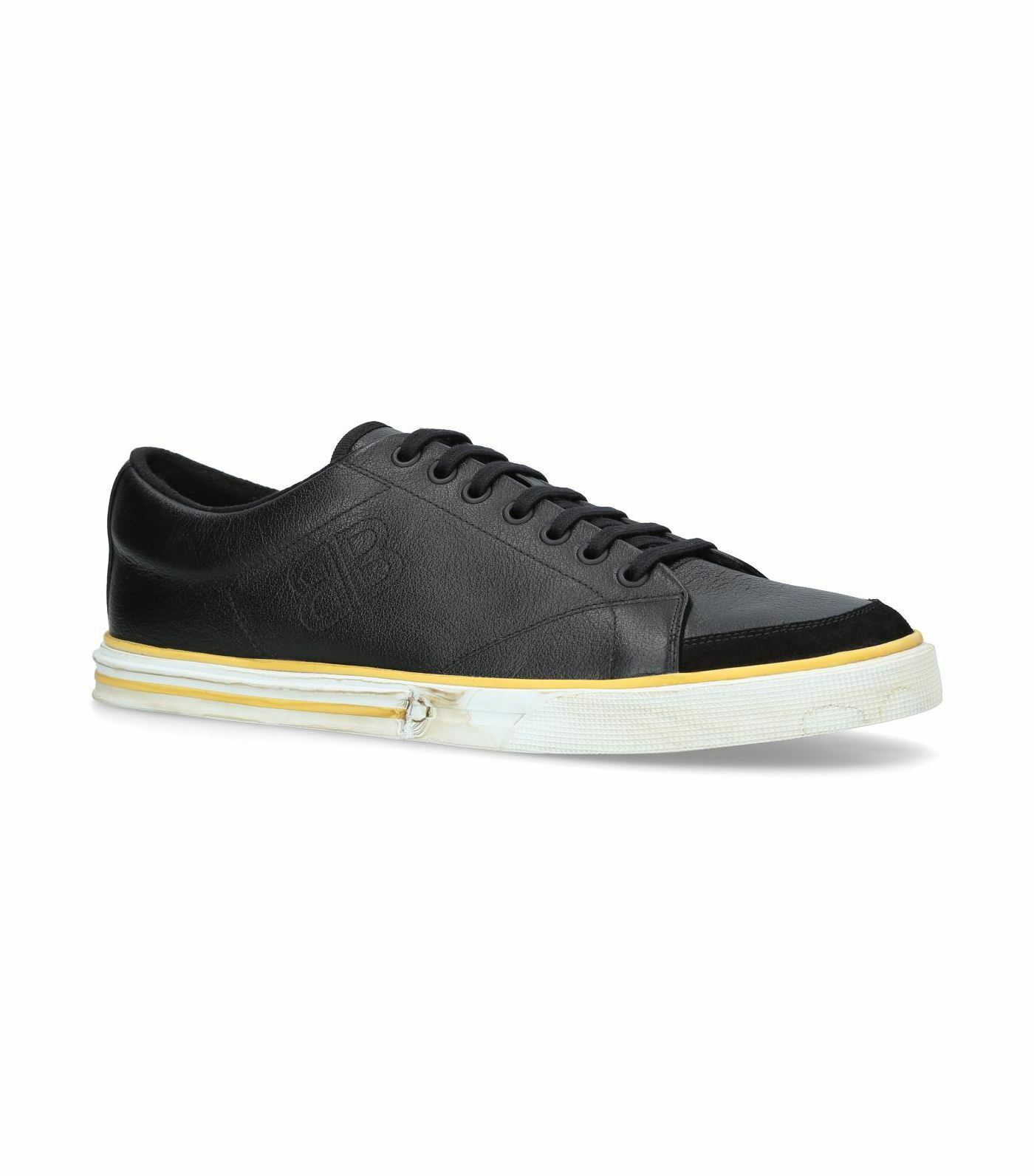 Balenciaga Match low-top calfskin leather kinda distressed trainers Black