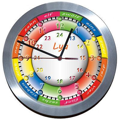 ALU->FUNKUHR<-LERNUHR Uhr*LAUTLOS*Kinderzimmer-Kinder-garten-Schule EINSCHULUNG