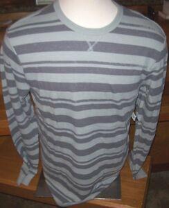 NEW-Volcom-green-gray-stripe-thermal-long-sleeve-warm-t-shirt-Medium-Large-XL