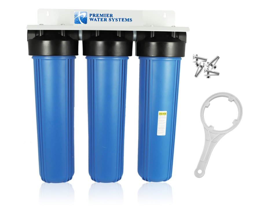 Triple Big Blau Water Filter System 1  NPT  KDF85-GAC FLUORIDE rotUCER SEDIMENT