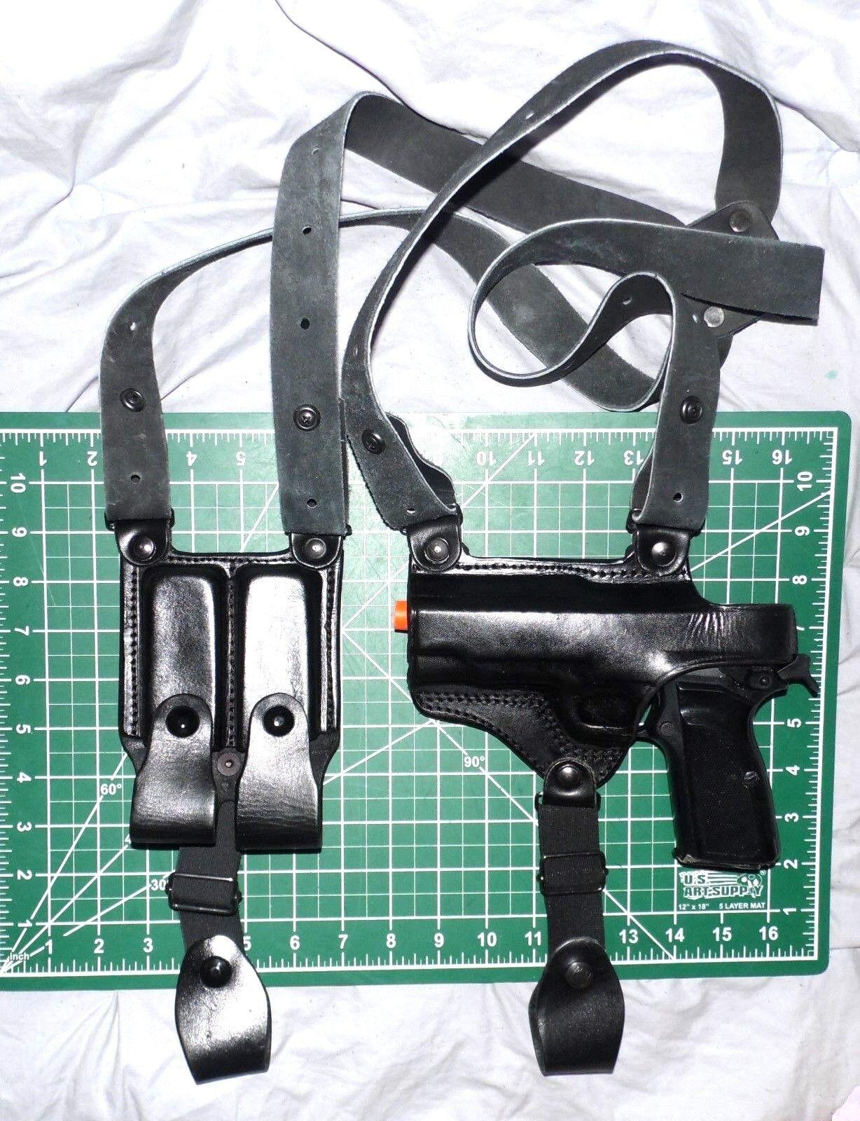 Tagua SH4-071 LH Funda de hombro de cuero doble bolsa del Mag Para FN marrónING HIPOWER