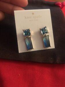 Authentic-Kate-Spade-Earrings-Shine-On-BAGUETTE-Ombre-BLUE-OCEAN-earrings-DANGLE