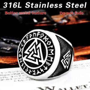 Men/'s Ring Finger Stainless Steel Nordic Viking Rune scandinavian Warrior Slavic