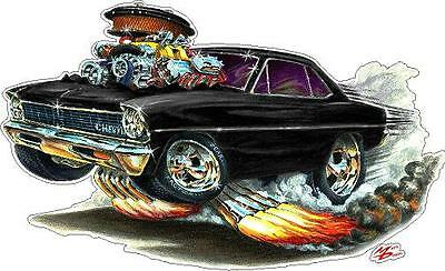 MD 1966-67 Chevy 2 Nova Cartoon Car Wall Graphic Decals Man Cave Garage Decor