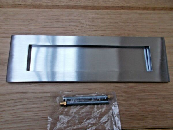 Satin Chrome Front Door Internal External Letter Box Postal Plate