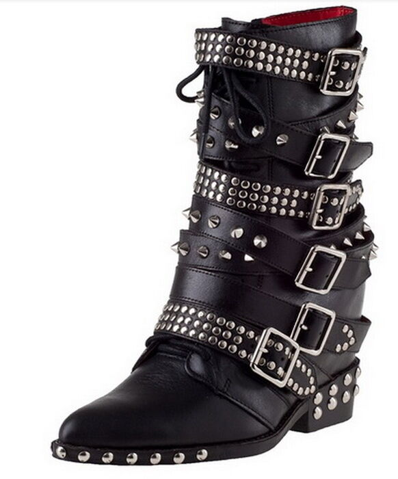 2018 Womens Low Heel Leather Rock Mid Calf Rivet Spike Zip PointyToe Boots 35-42