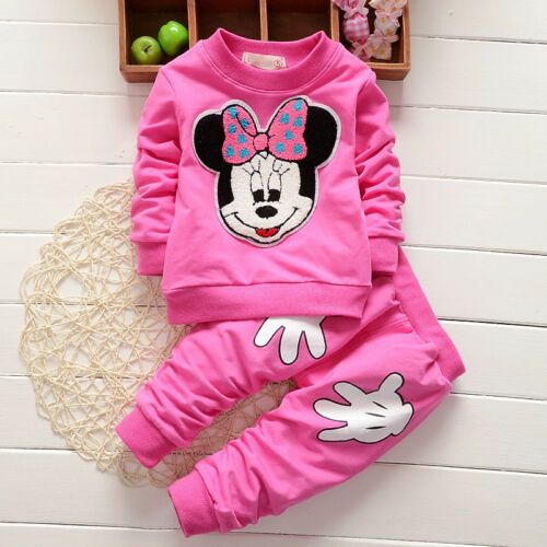 Toddler Baby Girl Minnie Mouse Sweatshirt Tops Pants Winter Tracksuit Outfit Set