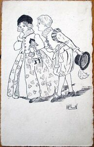 1907 Original Art/Hand-Drawn/Artist-Signed Postcard: Children, Girl w/Doll