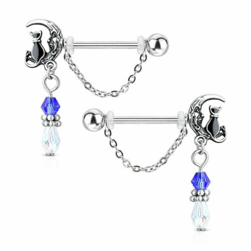 Nipple Rings Cat and Moon 14g Straight Barbells Surgical Steel Pair