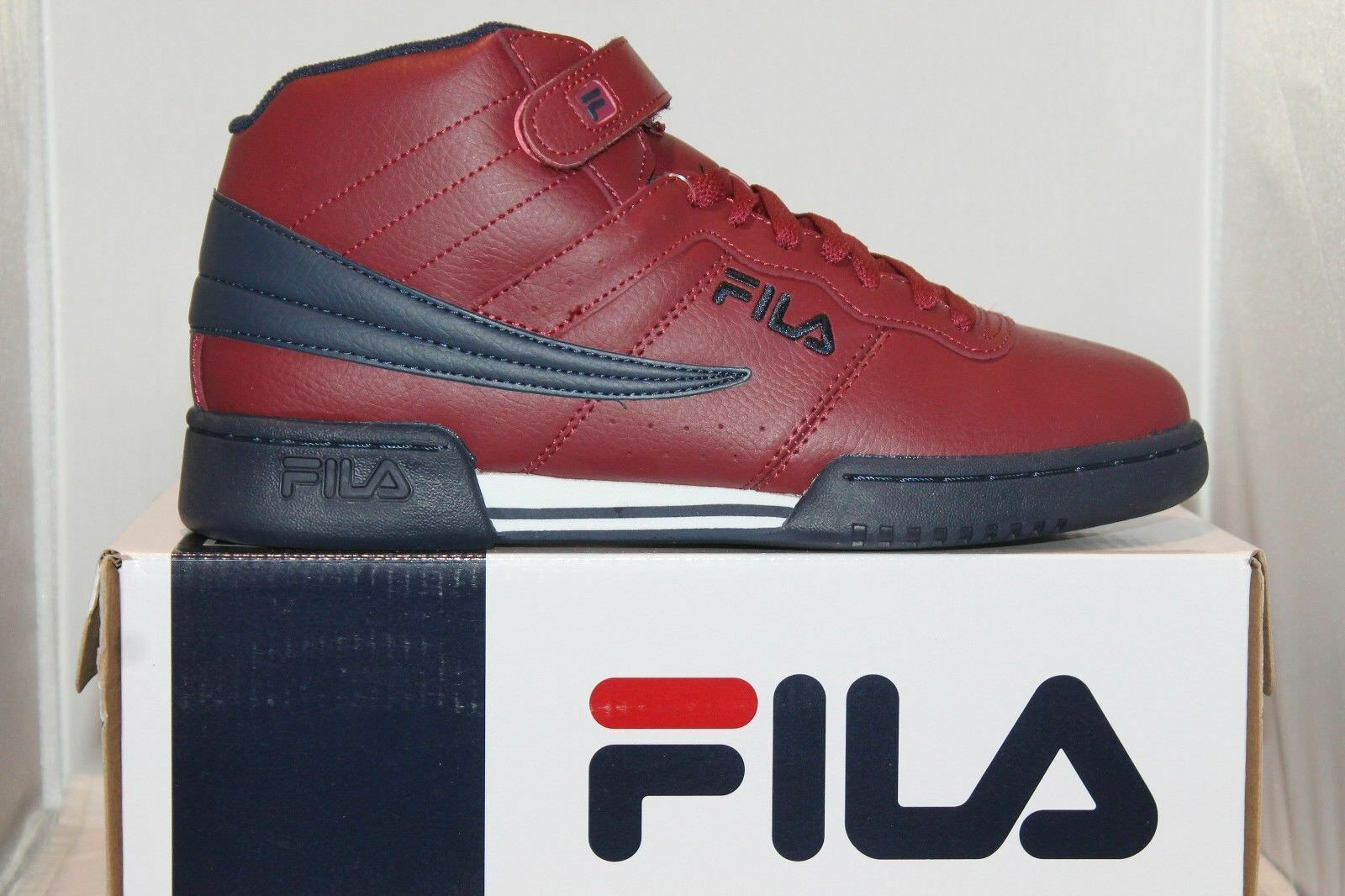 Uomo Fila F13 F-13 Classic Mid High Top Basketball Shoes  Burgundy Navy