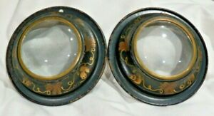 2-Vintage-Metal-Round-Black-w-Gold-Flowers-Dome-Picture-Frames