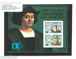 1992-New-Zealand-Voyages-of-Discovery-MS-SG1661-2-overprint-St-Expo-Chicago-MUH