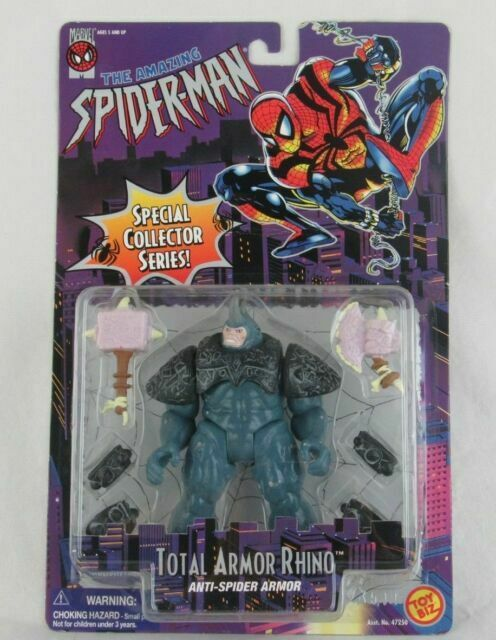 1996 TOY BIZ THE AMAZING SPIDERMAN TOTAL ARMOR RHINO ANTI-SPIDER ACTION FIGURE