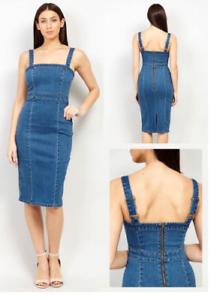 UK-Womens-Denim-Strap-Dungaree-Dress-Denim-Pinafore-Skirt-Midi-Dress