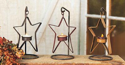 Standing Primitive Metal New Set of 3 Burgundy Pedestal Stars