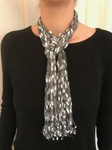 Details about Scarf Silver Yarn Necklace Handmade ladder ribbon trellis belt
