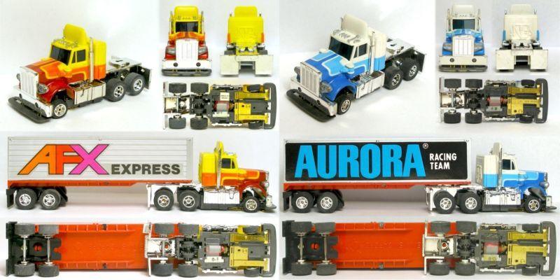 2pc 1979 Aurora Speedsteer TCR Ranura menos Peterbilt Remolque De Tractor Coche Sin Usar A +