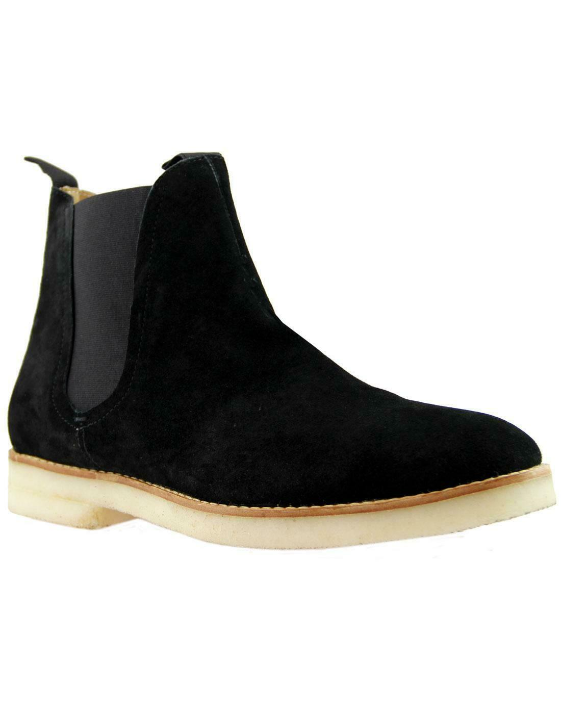 H by Hudson Negro Cuero Zapatos de gamuza tobillo Sandgate Chelsea botas 7 12 Nuevo