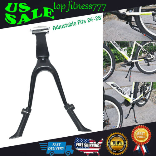 Bike Parking Rack Bicycle Kickstand Cycling Support Frame Double Leg Center Kick