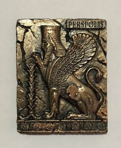 1x Persian Historical Babylon Assyrian Fridge Magnet ahura  aged Brass