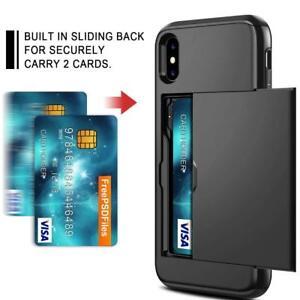 Coolden-Armor-Shockproof-Case-iPhone-XS-5-8-034-inch-Card-Holder-Slot-Black