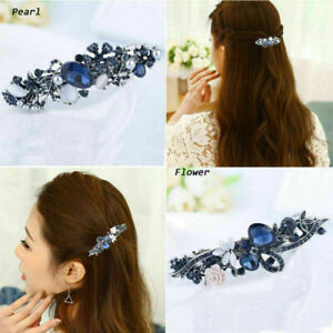 Fashion-Women-Blue-Crystal-Hair-Clip-Flower-Barrette-Bobby-Pin-Clamp-Hairpin