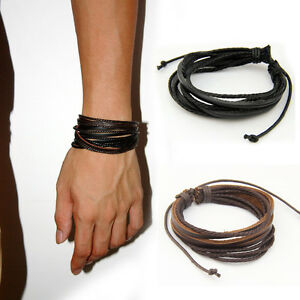 2pcs Wrap Multilayer Genuine Black Leather Bracelet