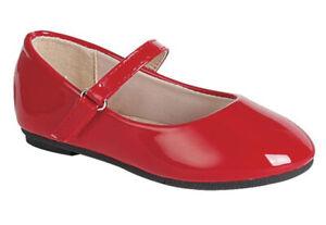 Girls Shiny Red Dress Shoes Flats