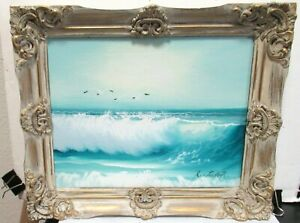 R-FISHER-SMALL-ORIGINAL-OIL-ON-CANVAS-SEASCAPE-PAINTING
