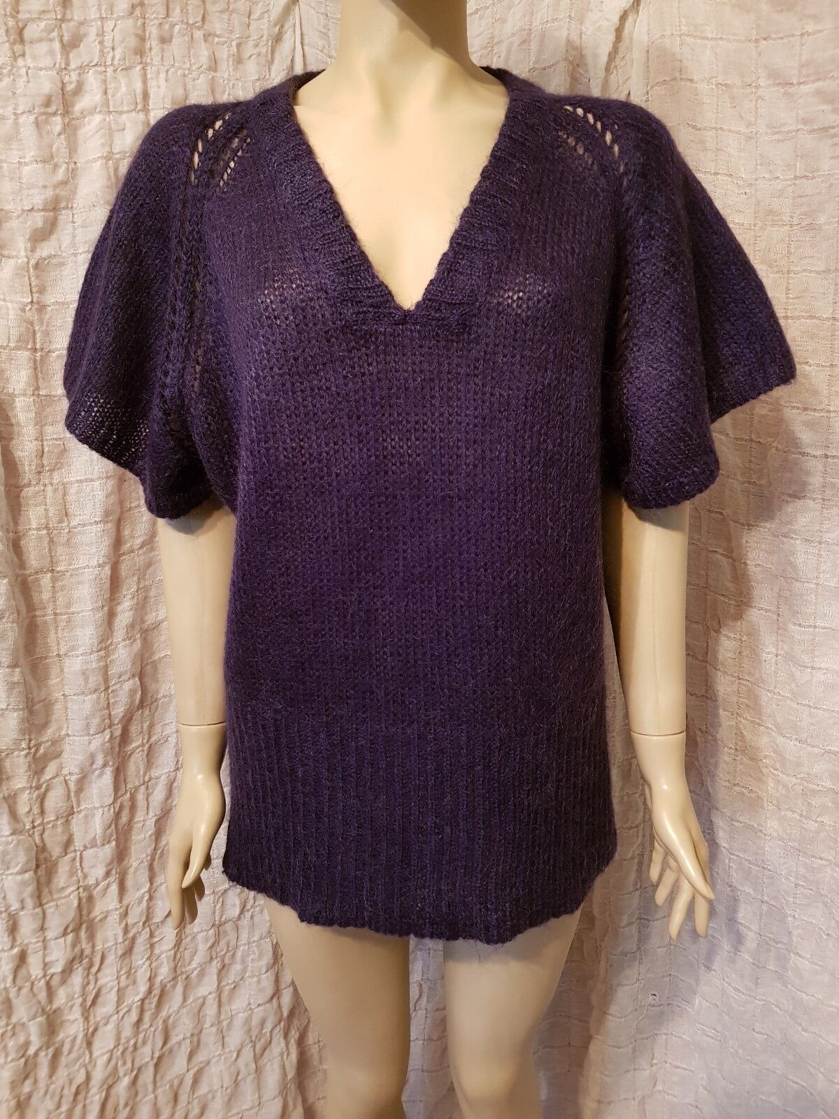 Isabel Marant kid mohair purple cap sleeve knitted top jumper size 2