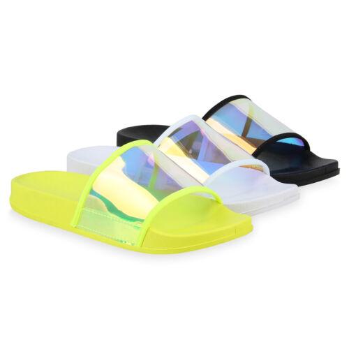 Damen Sandalen Pantoletten Metallic Holo Schlappen Strandschuhe 831095 Schuhe