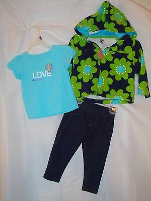 Punctual Carter's Oshkosh Denim Jegging Blue Green Floral Hoodie Girls 12 18 Month Girls' Clothing (newborn-5t)