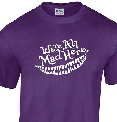 We/'re All Mad Here Mad Hatter  Cat Purple Basic Women/'s T-Shirt