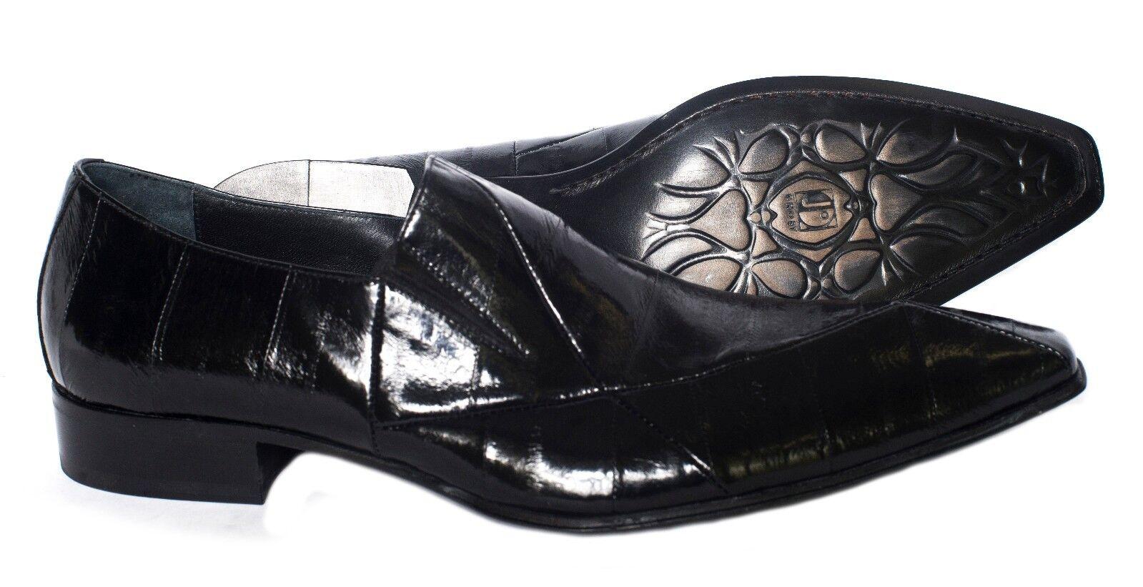 Jo Ghost 2672 Men's Italian nero Dressy Pointy Toe scarpe EEL Skin