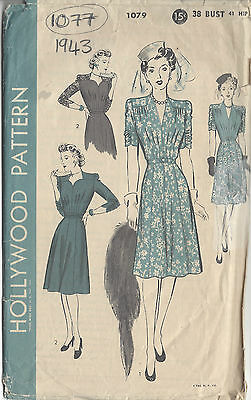 1943 Vintage Sewing Pattern B38 DRESS (1077)
