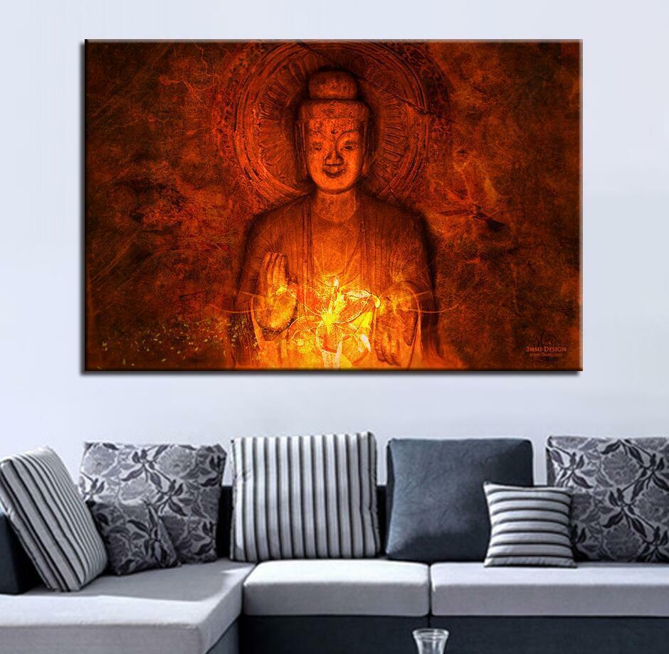 Vintage Varada Mudra Buddha 1 Panel Canvas Print Wall Art
