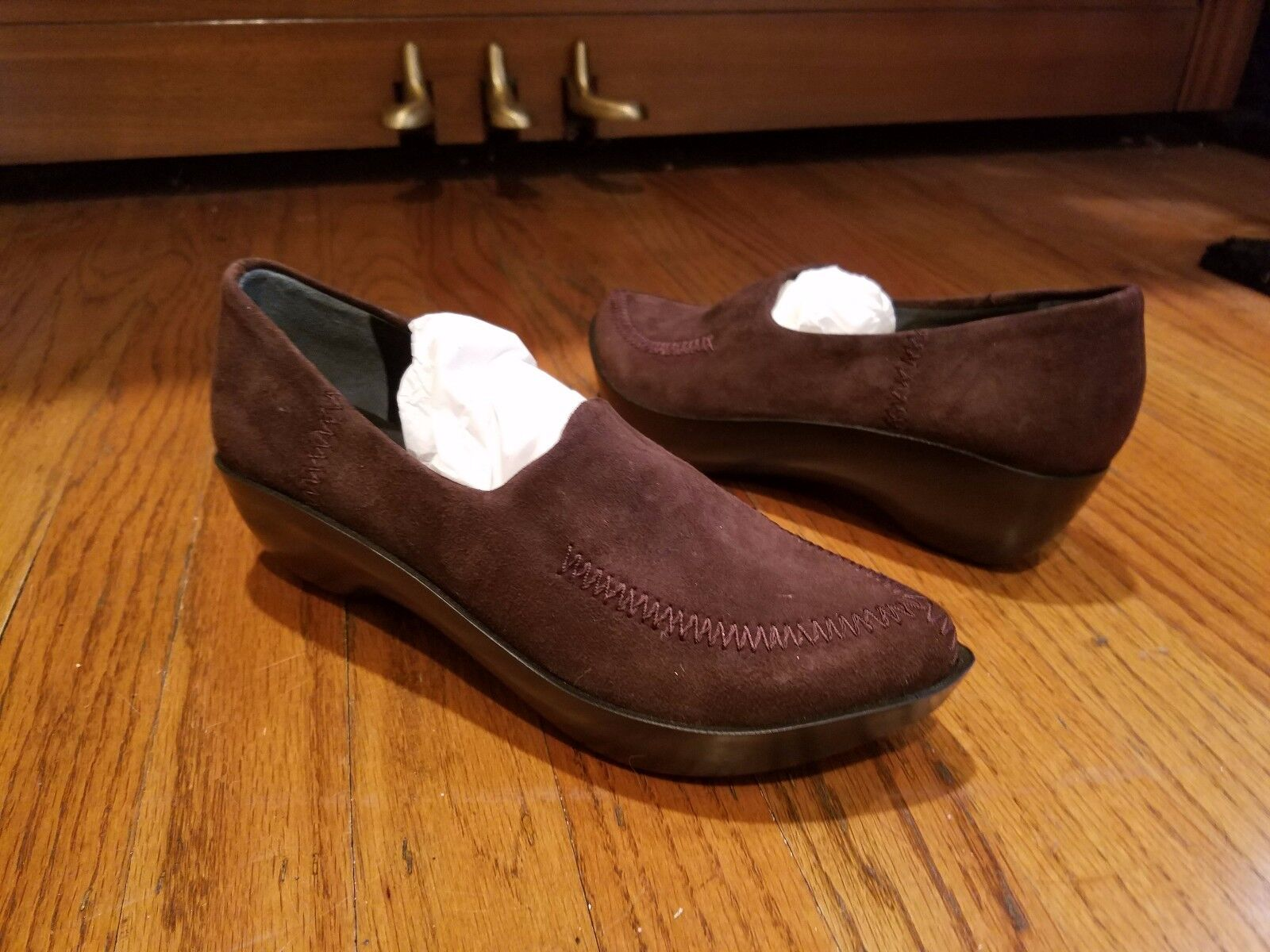 NUOVO Robert Clerserie  Marronee Suede Leather Platform SlideOn Walking scarpe 5.5 1  2  si affrettò a vedere