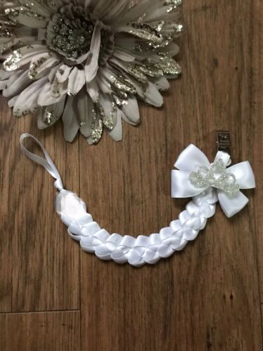 Stunning Baby Girl Dummy Chain Holder with Satin Bow and Clip Crown Bling White