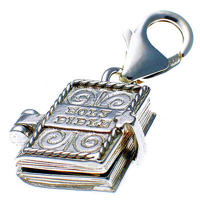 British Sterling 925 Silver Bible Clip On Charm Opens Showing Lord's Prayer Amen