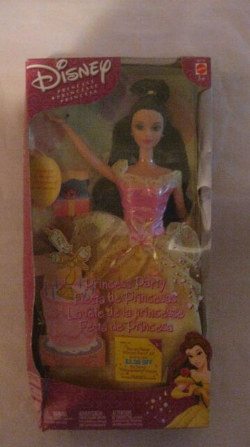 Rare Disney Princess Party Belle In Pink & Yellow From Mattel 2002 NEW t195