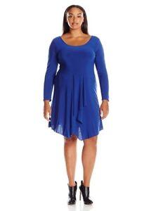 Details about Star Vixen Women\'s Plus Size Long Sleeve Knit Fit N Flare  Ballet Skater Dress 1X