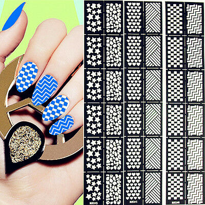 12Tips/Sheet Easy Use Nail Art Vinyls Manicure Stencil Template Sticker Decal