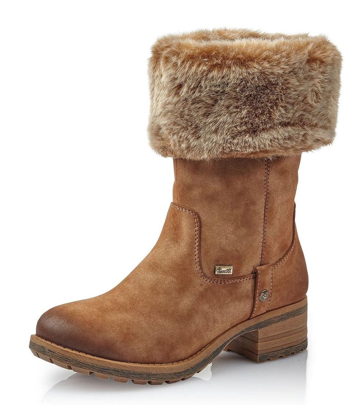 Rieker señora botas botines cálidos forro 96854-24 marrón tex nuevo