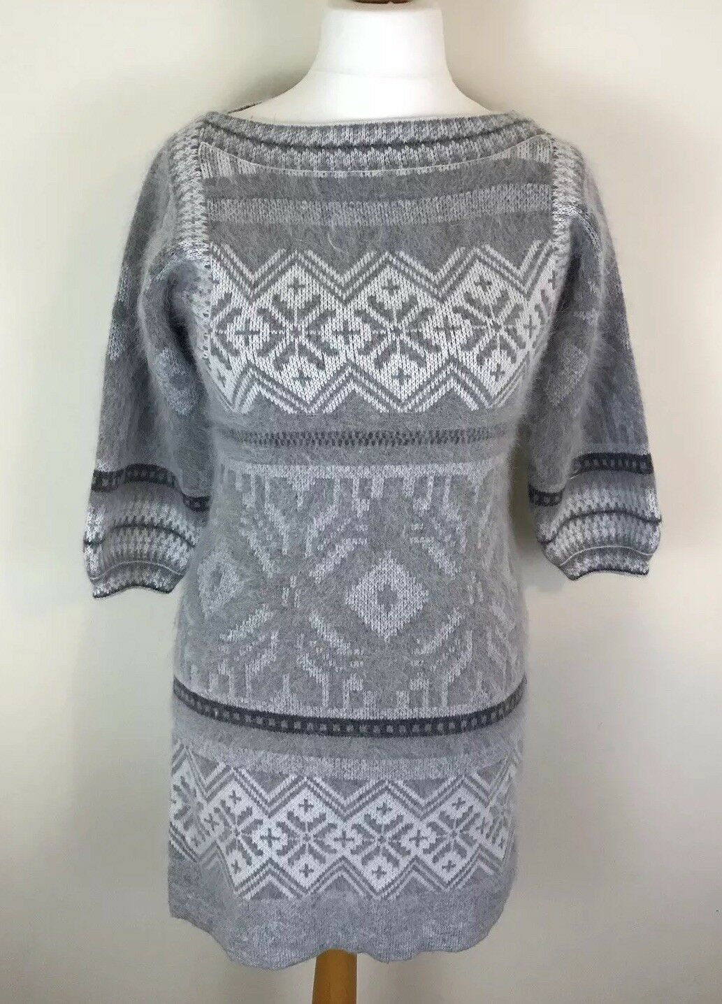 Warehouse Women's Jumper Dress, Grey Angora Wool, Nordic Fair Isle RRP