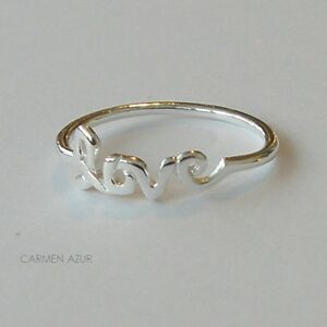 Image Is Loading Solid  Sterling Silver Midi Ring Love Word