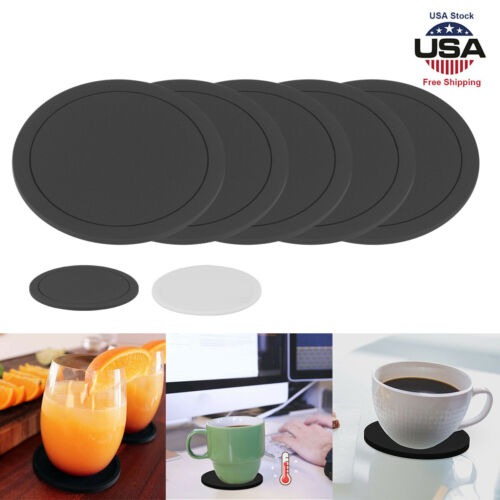 5Pcs Set Round Silicone Coasters Non-slip Cup Mats Pad Drinks Table Glasses B//W